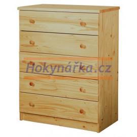 Komoda 5 zásuvek dřevěná lakovaná masiv smrk