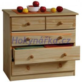Prádelník 5 zásuvek masiv borovice