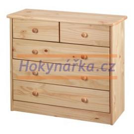 Komoda prádelník 2+3 zásuvky dřevěná lakovaná masiv borovice