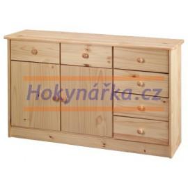 Komoda prádelník 6 zásuvek 2 dvířka dřevěná lakovaná masiv borovice