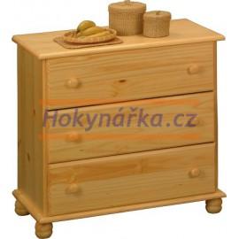 Komoda prádelník 3 zásuvky dřevěná lakovaná masiv borovice