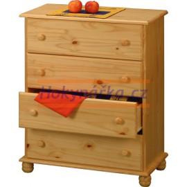 Komoda prádelník 4 zásuvky dřevěná lakovaná masiv borovice