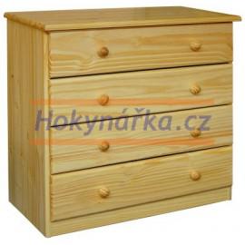 Komoda prádelník 4 zásuvky nízká dřevěná lakovaná masiv borovice