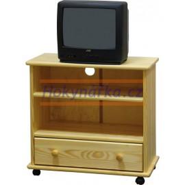 TV stolek dřevěný na kolečkách lakovaný masiv borovice se šuplíkem