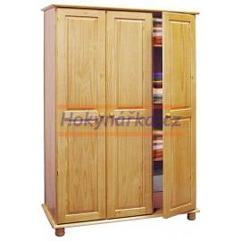 Šatní skříň 3 dveře dřevěná lakovaná masiv borovice