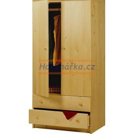 Šatní skříň 2 zásuvky180 dřevěná lakovaná masiv smrk