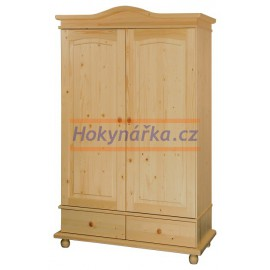 Šatní skříň KATE 2 dveře a šuplíky dřevěná lakovaná masiv smrk
