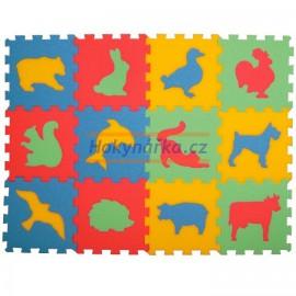 Pěnový koberec puzzle zvířata 12 mix barev 8mm