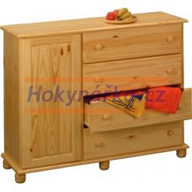 Komoda prádelník 4 zásuvky s dvířky dřevěná lakovaná masiv borovice