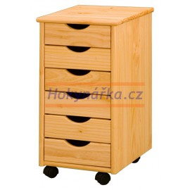 Kontejner 6 zásuvek dřevěný lakovaný masiv borovice