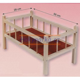 Postýlka dřevěná pro panenky - miminka velká 50cm