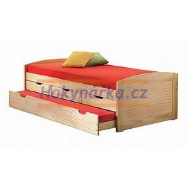 Postel jednolůžko s přistýlkou 200x90 cm se šuplíky dřevěné lakované masiv borovice výsuvná