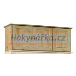 Nástavec na skříň 120 třídvéřový dřevěný lakovaný masiv borovice