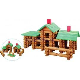 Srubová STAVEBNICE dřevěná střední 162 Dílů Stavění domů  MAXIM tvoření pro děti