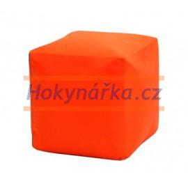 SEDACÍ VAK ve tvaru KOSTKY oranžový TABURET kuličkový 40X40 vaky pytel