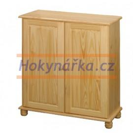 Komoda prádelník 2 dveře dřevěná lakovaná masiv borovice