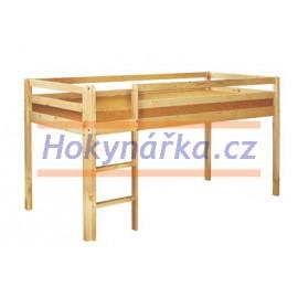 Patrové lůžko postel dřevěná lakovaná masiv smrk nízká