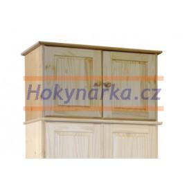 Nástavec na skříň 82 dvoudvéřový dřevěný lakovaný masiv borovice