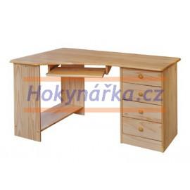 PC psací stůl rohový dřevěný lakovaný masiv borovice