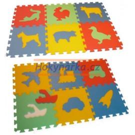 Pěnový koberec pěnové puzzle MAXI 12 doprava a zvířata 120x90 od 0let mix barev 8mm 30x30 Český výrobce