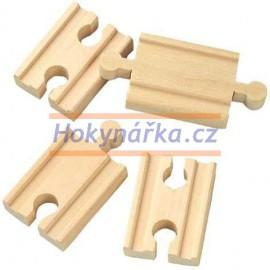 Maxim dřevěná mašinka 5 cm rovné koleje - spojky 4 ks