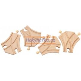 Maxim dřevěná mašinka symetrická výhybka 4ks