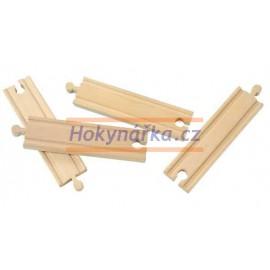 Maxim dřevěná mašinka 15 cm rovné koleje 4 ks