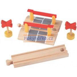 Maxim dřevěná mašinka Závory + koleje