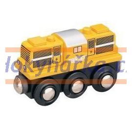 Maxim dřevěná mašinka dieslová lokomotiva žlutá