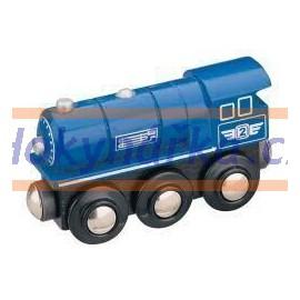 Maxim dřevěná mašinka parní lokomotiva modrá