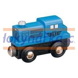 Maxim dřevěná mašinka dieslová lokomotiva modrá