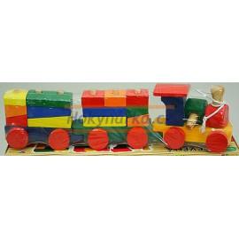 Dřevěný VLÁČEK s vagonky - vlak s kostkami - kostky dřevěné