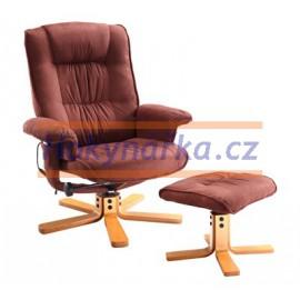Relaxační masážní křeslo s podnožkou hnědé