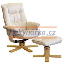Relaxační masážní křeslo s podnožkou béžové