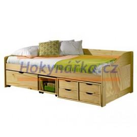 Postel dřevěná lakovaná se zásuvkami masiv borovice