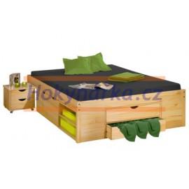 Postel dvoulůžko 200x140 cm s úložnými prostory dřevěné lakované masiv borovice