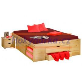 Postel dvoulůžko 200x160 cm s úložnými prostory dřevěné lakované masiv borovice