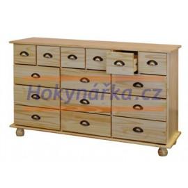 Komoda příborník 15 zásuvek dřevěná lakovaná masiv borovice