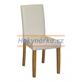 Jídelní židle PM masiv imitace kůže bílá světlá
