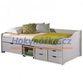 Postel dřevěná bílá se zásuvkami masiv borovice
