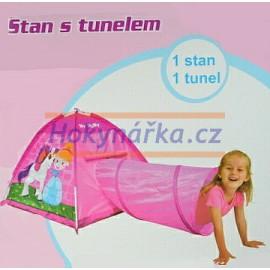 Dětský stan s tunelem růžový látkový
