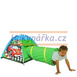 Dětský stan s tunelem Auta