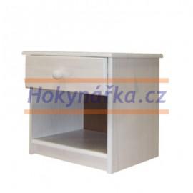 Komoda noční stolek dřevěná bílý lak masiv borovice
