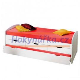 Postel jednolůžko s přistýlkou 200x90 cm se šuplíky dřevěné bílé masiv borovice výsuvná
