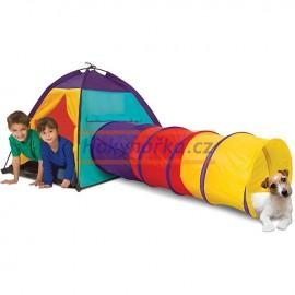Dětský stan s tunelem látkový
