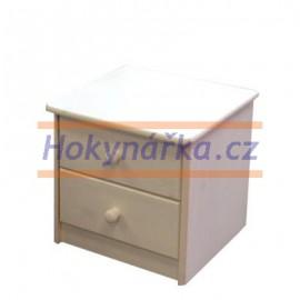Komoda noční stolek 2 zásuvky bílý lak masiv borovice