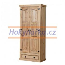 Šatní skříň 2 dveře vosk masiv borovice