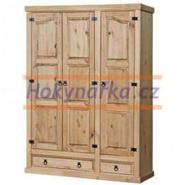 Šatní skříň Corona 3 dveře vosk masiv borovice