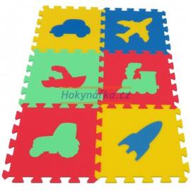 Pěnový koberec MAXI 6 dopravní prostředky mix 4 barev 8mm