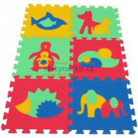 Pěnový koberec MAXI 6 zvířata 2 mix 4 barev 8mm